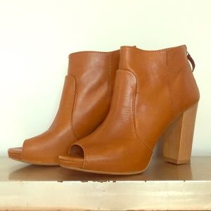 Zara Collection Caramel Leather Peep Toe Booties